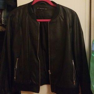 Blk faux leather jacket